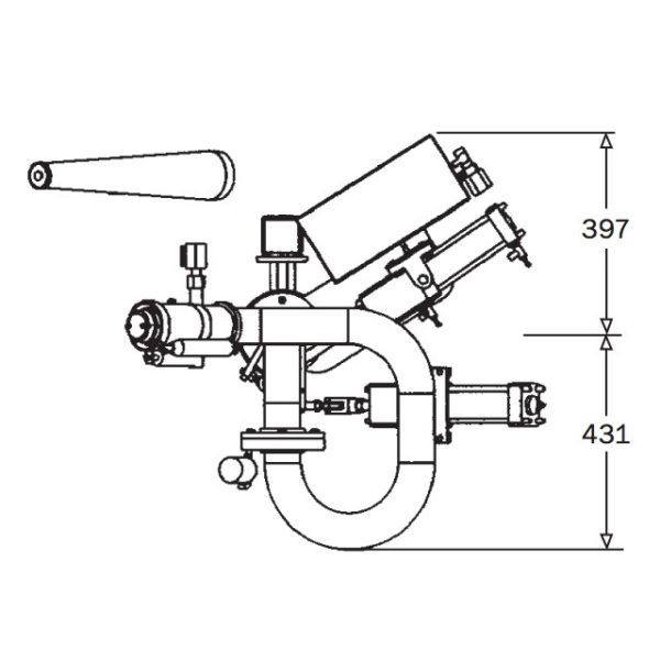 2pt5 Inch Hydraulic Remote Monitor Technical Drawing From Side