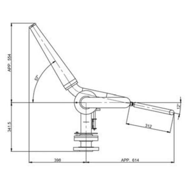 2pt5inch Manual Monitor Mm65 Technical Drawing From Side