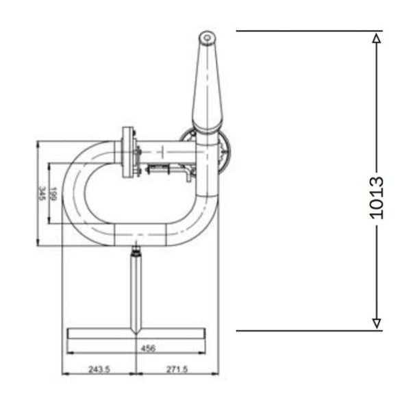 2pt5inch Manual Monitor Mm65 Technical Drawing From Top