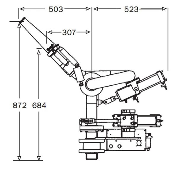 2pt5inch Pneumatic Remote Monitor Rm65 Mk5 Technical Drawing From Side