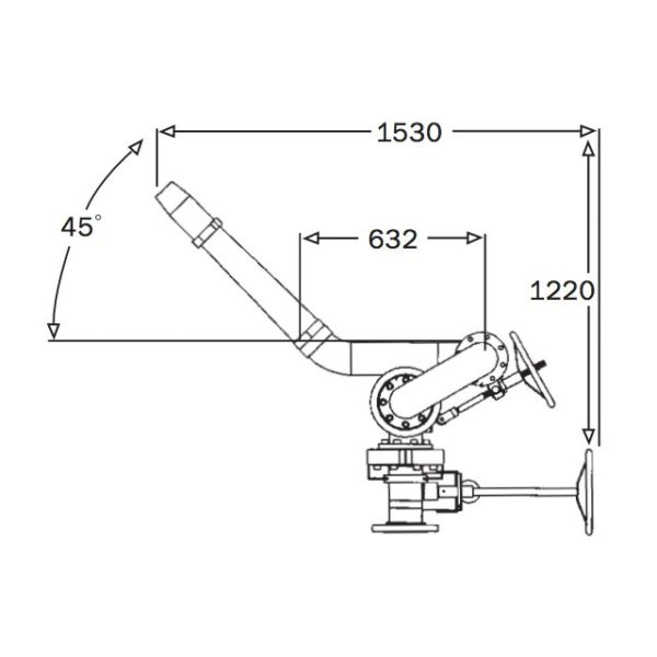 4 Inch Heavy Duty Manual Monitor Technical Drawing From Side